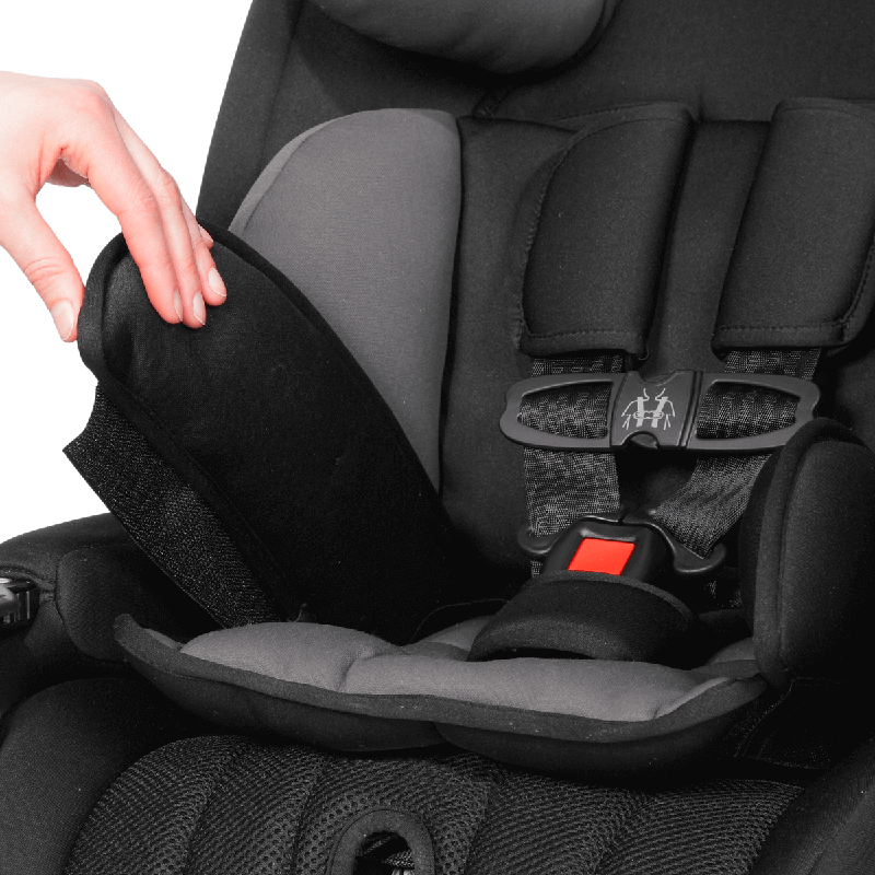 Lateral side supports are removable to adjust seat width for plenty of room for the child to grow with the seat