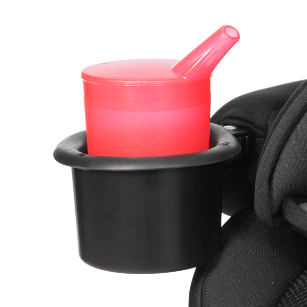 Cup/snack holder swivels and can easily be installed on either armrest