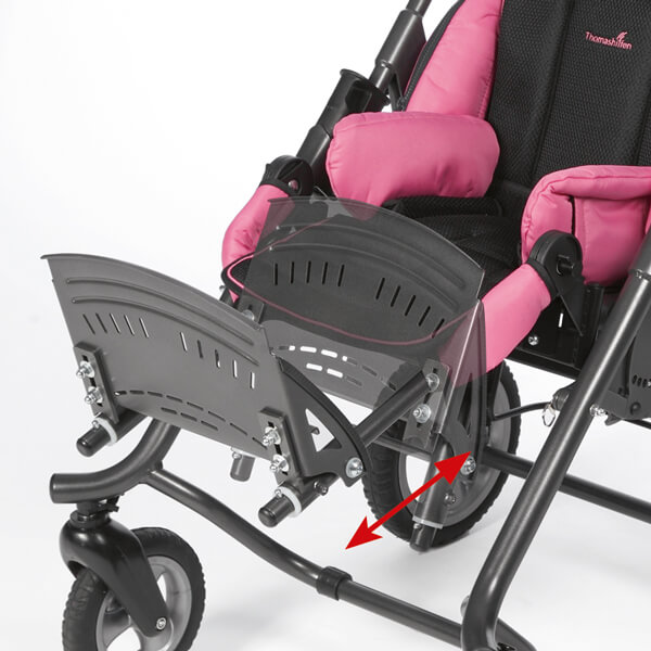 Footrest angle and height adjustable, fold up function and optional foot straps
