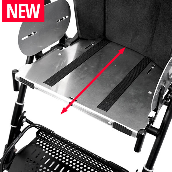 Seat depth adjustable without tools – even while the child is sitting in the rehab stroller